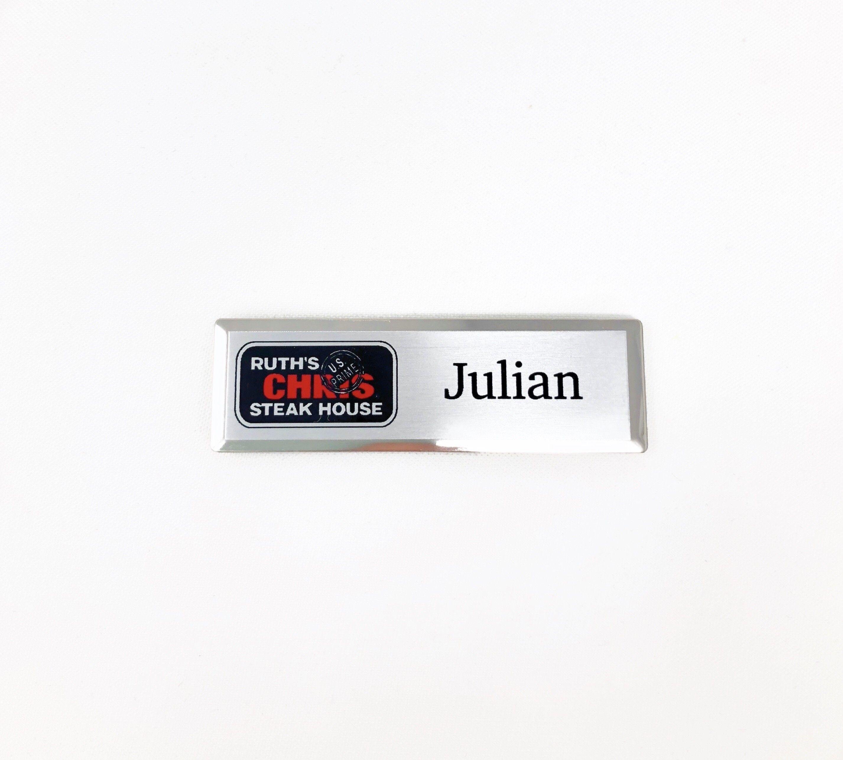 Ruth's Chris Silver Beveled Name Tag