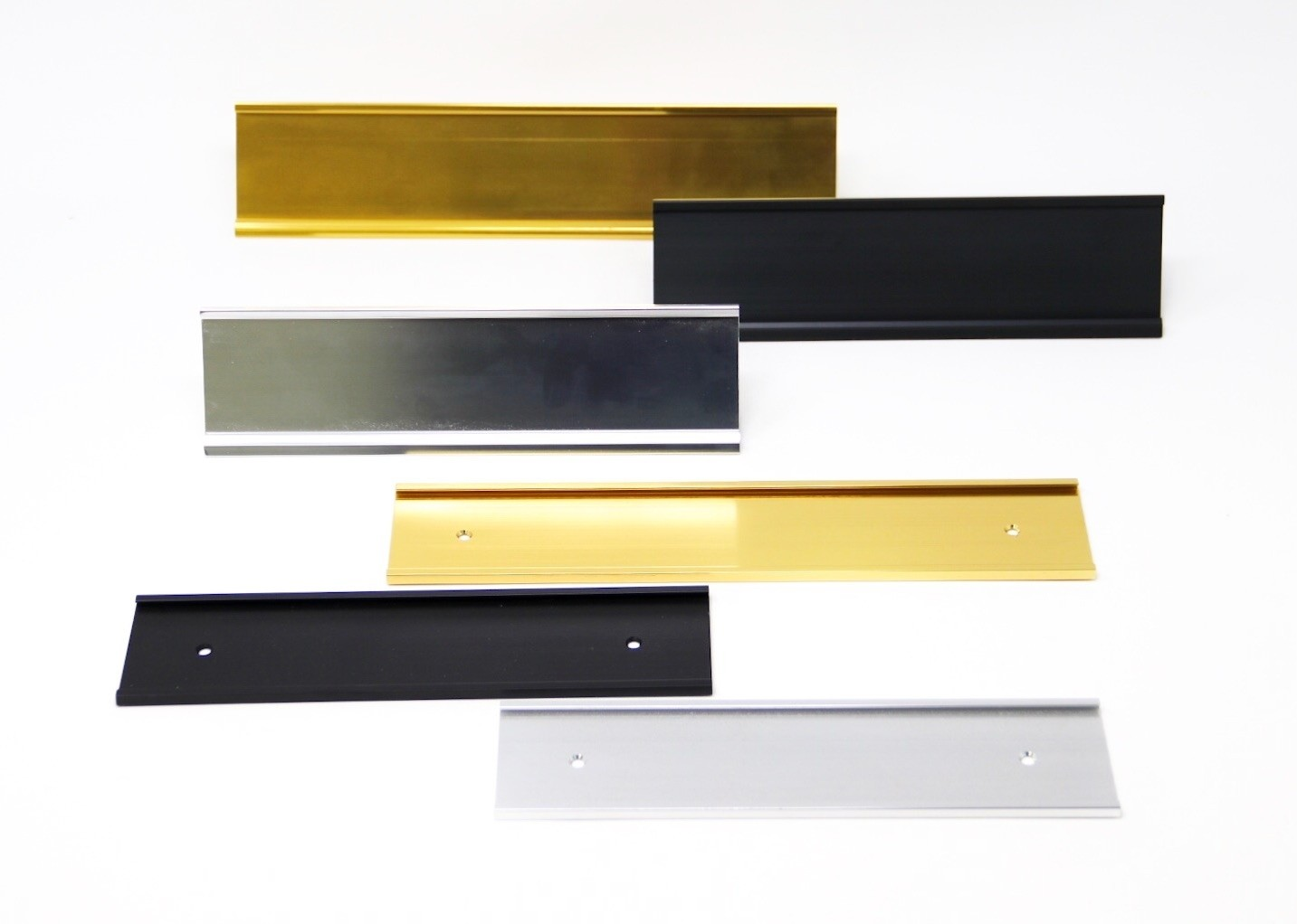 Metal Name Plate Holder, Desk and Wall Mounts