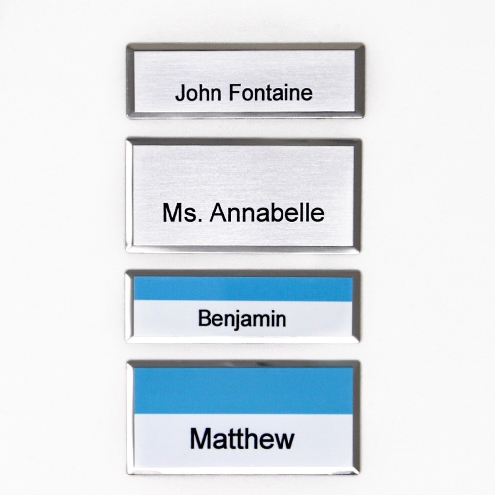 Kumon Silver Beveled Name Tag (will include Kumon logo top center)