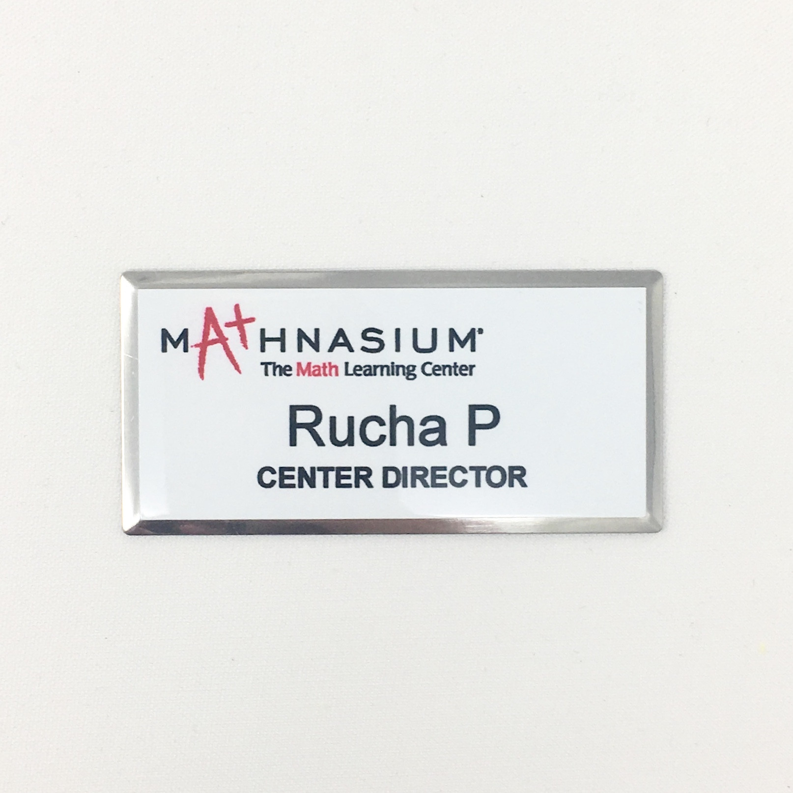 Mathnasium Silver Beveled Name Tag