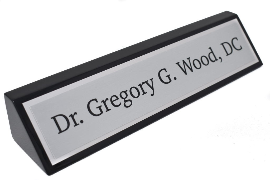 Black Piano Finish Desk Name Wedge