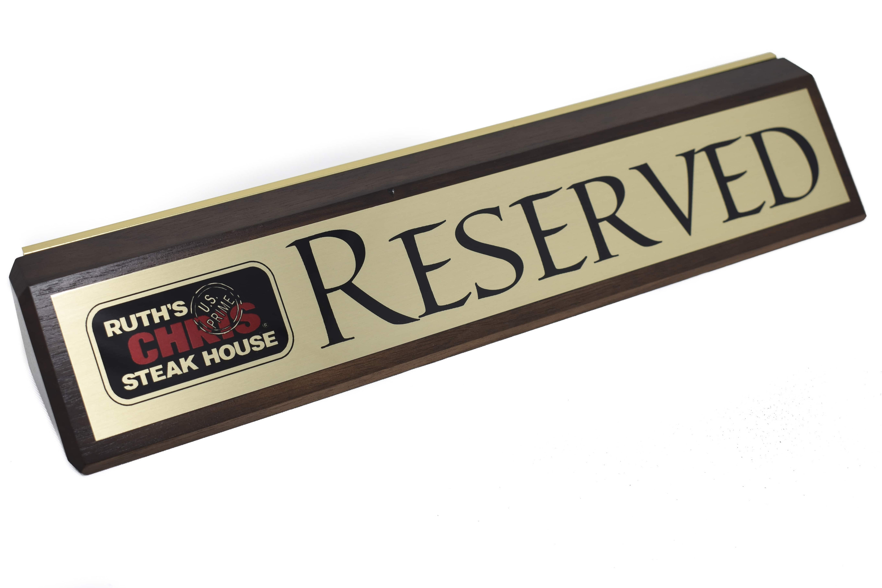 Walnut Finish Reserved Sign
