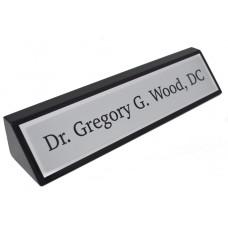 Black Piano Finish Desk Name Wedge