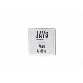 """2"""" x 2"""" Square Stainless Steel backed Name Tag with Metal Face"""