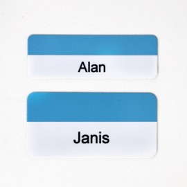 Kumon Glossy White/Blue Aluminum Name Tag (will include Kumon logo top center)