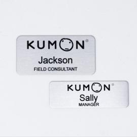 Kumon Satin Silver Aluminum Name Tag