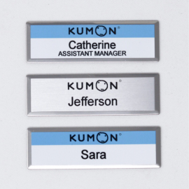 "Kumon 1""x3"" Silver Beveled Name Tag"