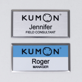 "Kumon 1.5""x3"" Silver Beveled Name Tag"
