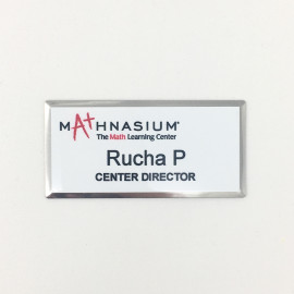 Mathnasium Silver Beveled Name Tag